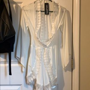 White Lacey long sleeve romper